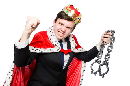 Concept of king businessman with crown photo