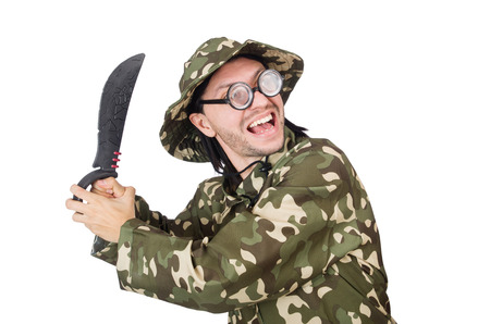 Funny soldier with knife on white photo