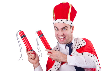 King with dynamite sticks isolated on the white photo