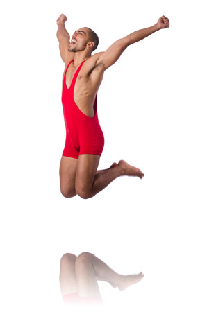pankration: Wrestler in red dress isolated on the white