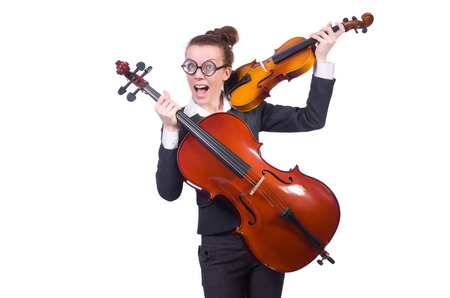 Funny woman playing violin isolated on the white photo