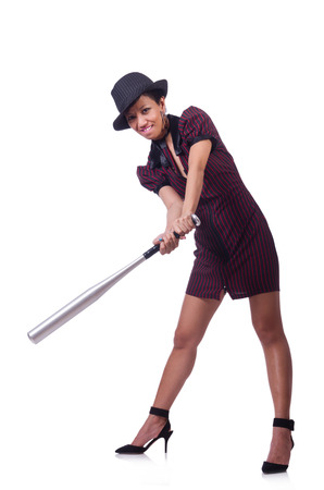 Woman gangster with baseball bat photo