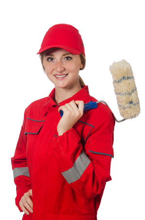 coveralls: Woman painter in red coveralls isolated on the white Stock Photo