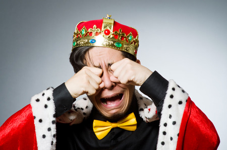 tearful: Concept of king businessman with crown