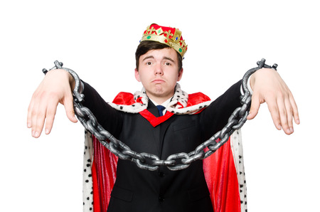 shackled: Concept of king businessman with crown