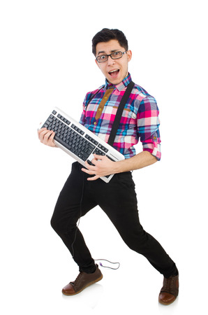 nerd glasses: Computer nerd with keyboard isolated on white Stock Photo