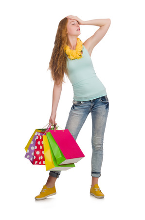 or spree: Woman after shopping spree on white Stock Photo