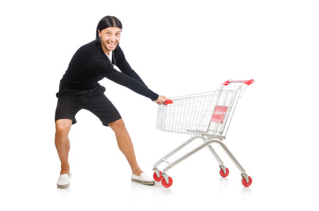 reach customers: Man shopping with supermarket basket cart isolated on white