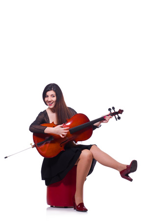 fiddlestick: Woman playing violin isolated on the white