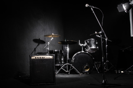 Set of musical instruments during concert Stock Photo