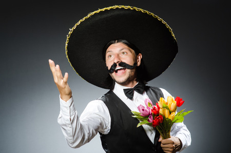 Funny mexican with sombrero in concept photo
