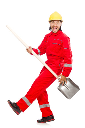 Man in red coveralls with spade photo
