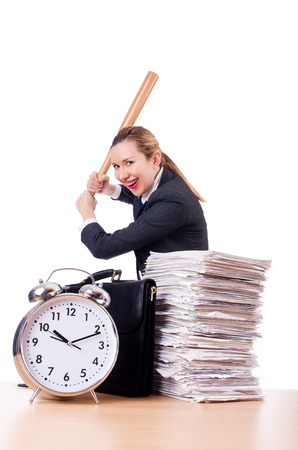 haste: Angry woman with baseball bat under stress missing deadline Stock Photo