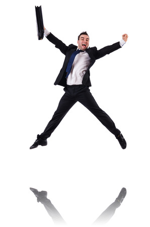 jumping businessman: Jumping businessman isolated on the white