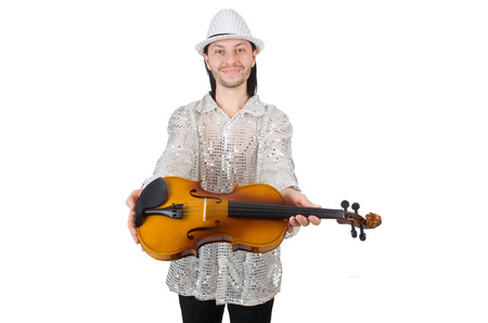 Funny man with violin on white photo
