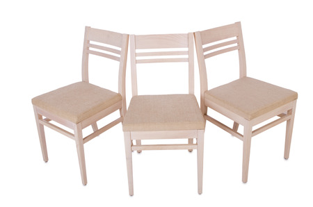 Row of chairs isolated on the white Stock Photo