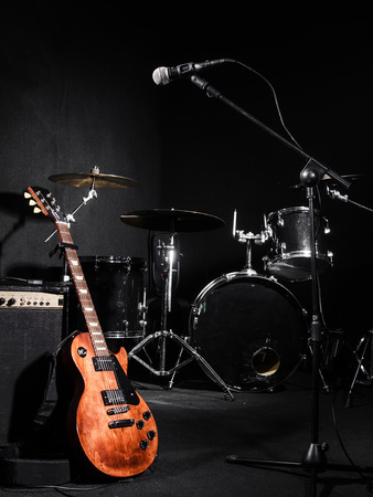 Set of musical instruments during concert photo