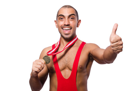 pankration: Wrestler in red dress isolated on the white background