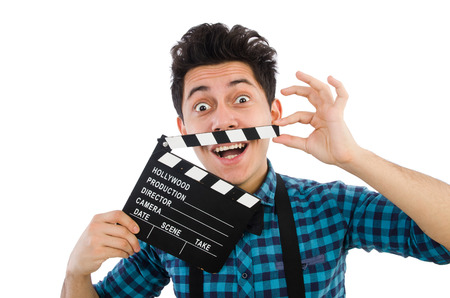 Man with movie clapperboard isolated on white photo