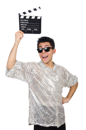 clapperboard: Man with movie clapperboard isolated on white Stock Photo