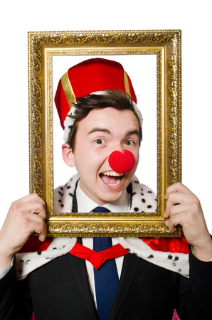 Funny businessman with clown nose photo