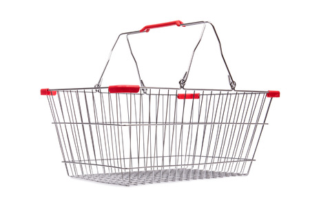 Shopping supermarket trolley isolated on the white Stock Photo