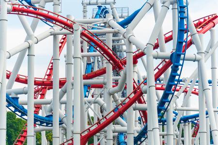 Railway of roller coaster in amusement park Stock Photo