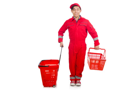 coveralls: Man in red coveralls with shopping supermarket cart trolley