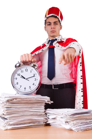 King businessman with lots of paperwork photo