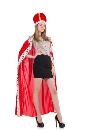 Woman queen isolated on the white photo