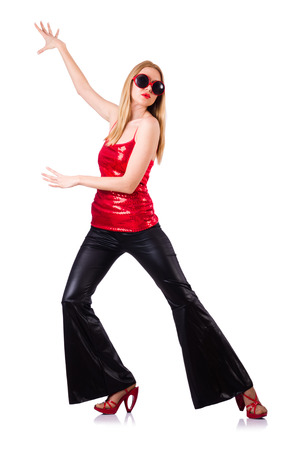 bell bottoms: Woman dancing isolated on the white