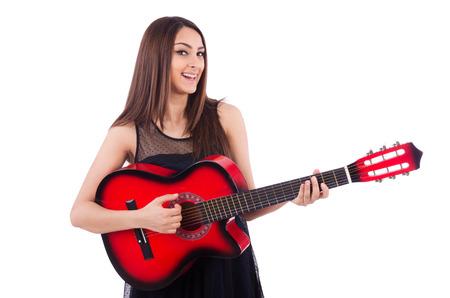 femme avec guitare: Joueuse de guitare isol� sur le blanc Banque d'images