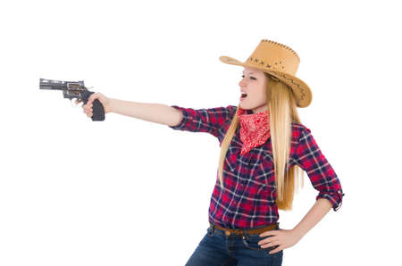 midriff: Cowgirl woman with gun isolated on white Stock Photo