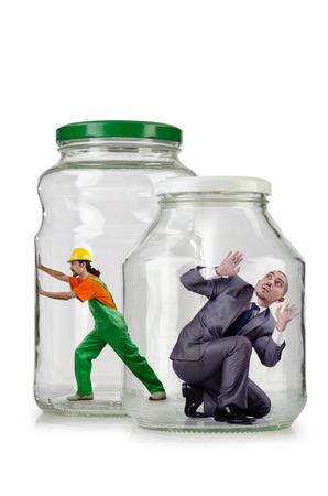 jailed: Glass empty jar isolated on white