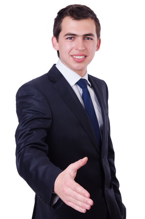 Handsome businessman isolated on the white photo