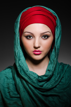 burka: Portrait of the young woman with headscarf