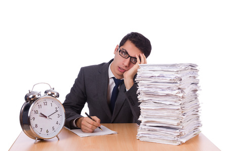 Busy man with stack of papers isolated on white photo