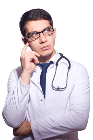 Young male doctor isolated on white Stock Photo
