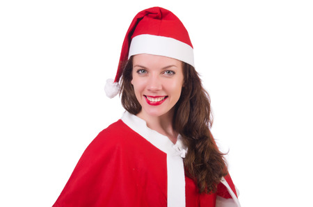 Snow girl santa in christmas concept isolated on white Stock Photo
