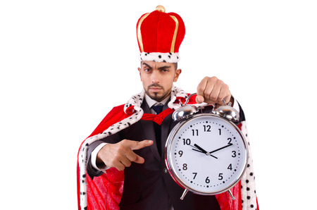 Man king with clock isolated on the white Stock Photo