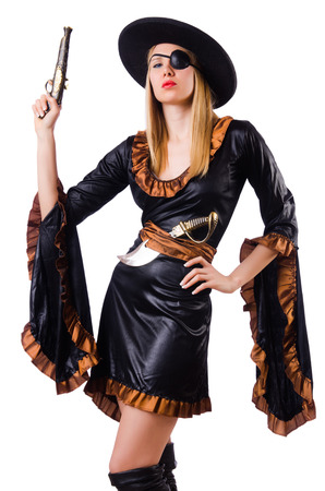 Woman in pirate costume isolated on white Stock Photo