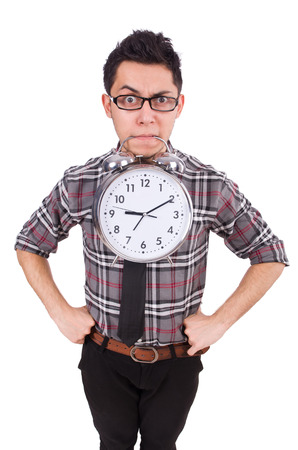 Man with clock trying to meet the deadline isolated on white Stock Photo