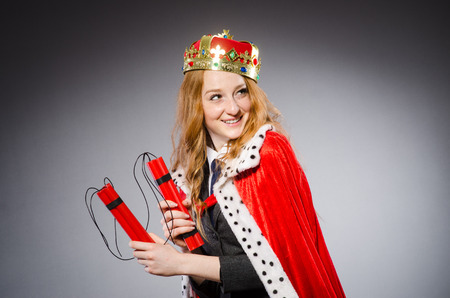 Woman queen businesswoman with dynamite photo