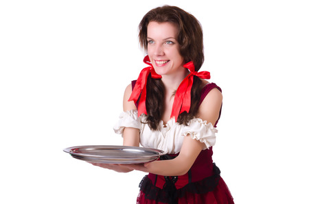 Young waitress with tray on white photo