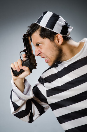 inmate: Funny prison inmate with gun