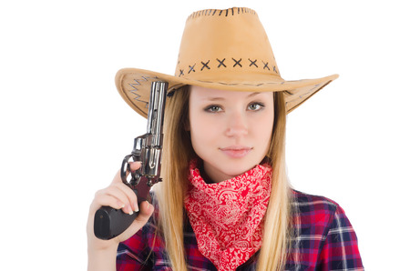Cowgirl woman with gun isolated on white photo