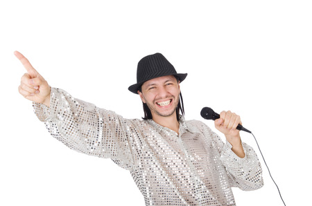 discoteque: Man with mic isolated on white