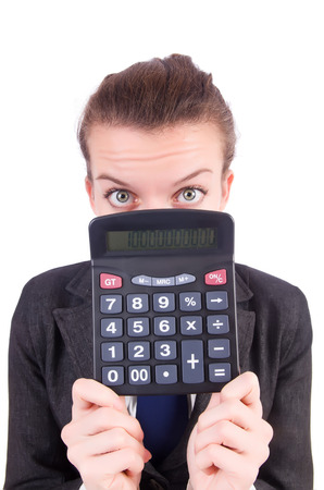 corporate espionage: Woman with calculator in fraud concept isolated on white
