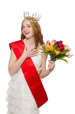 beauty contest: Beauty contest winner isolated on the white
