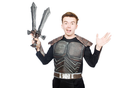 Funny knight isolated on the white background photo